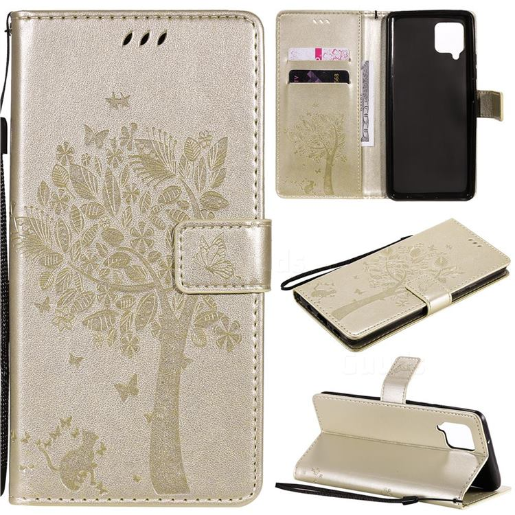 Embossing Butterfly Tree Leather Wallet Case for Samsung Galaxy A42 5G - Champagne