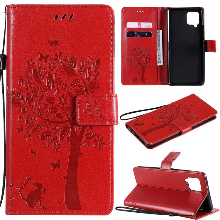 Embossing Butterfly Tree Leather Wallet Case for Samsung Galaxy A42 5G - Red