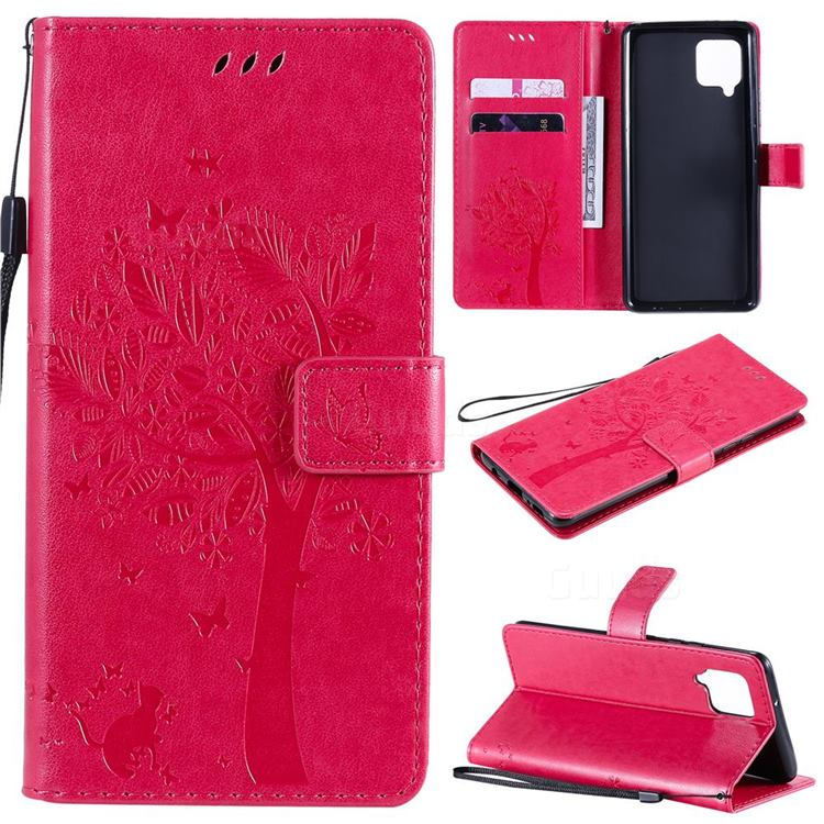 Embossing Butterfly Tree Leather Wallet Case for Samsung Galaxy A42 5G - Rose