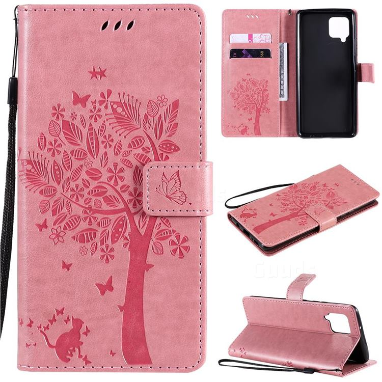 Embossing Butterfly Tree Leather Wallet Case for Samsung Galaxy A42 5G - Pink