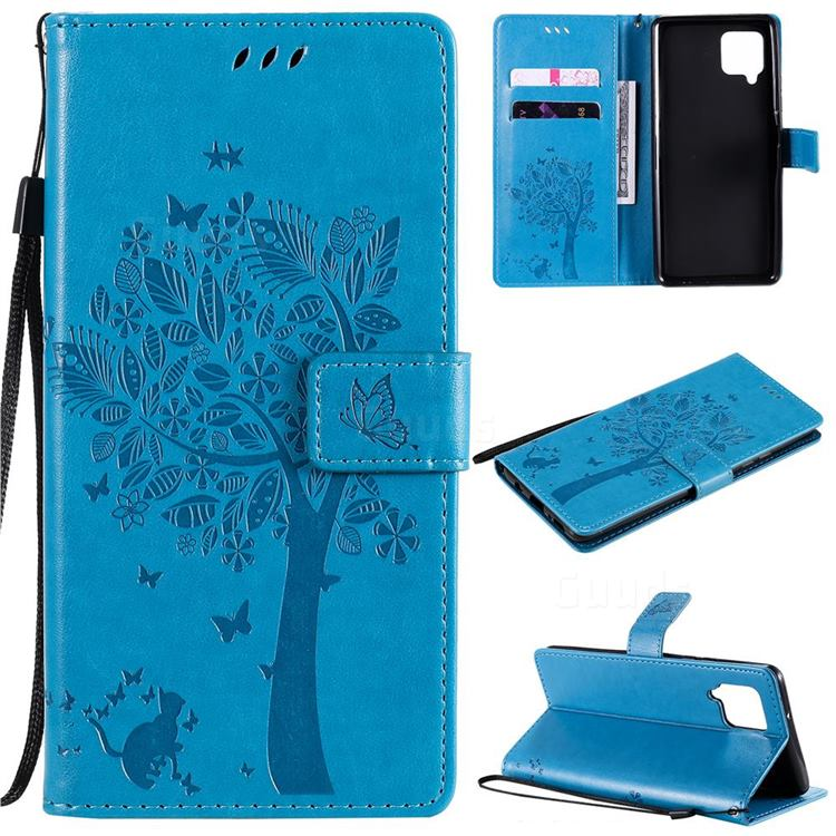 Embossing Butterfly Tree Leather Wallet Case for Samsung Galaxy A42 5G - Blue