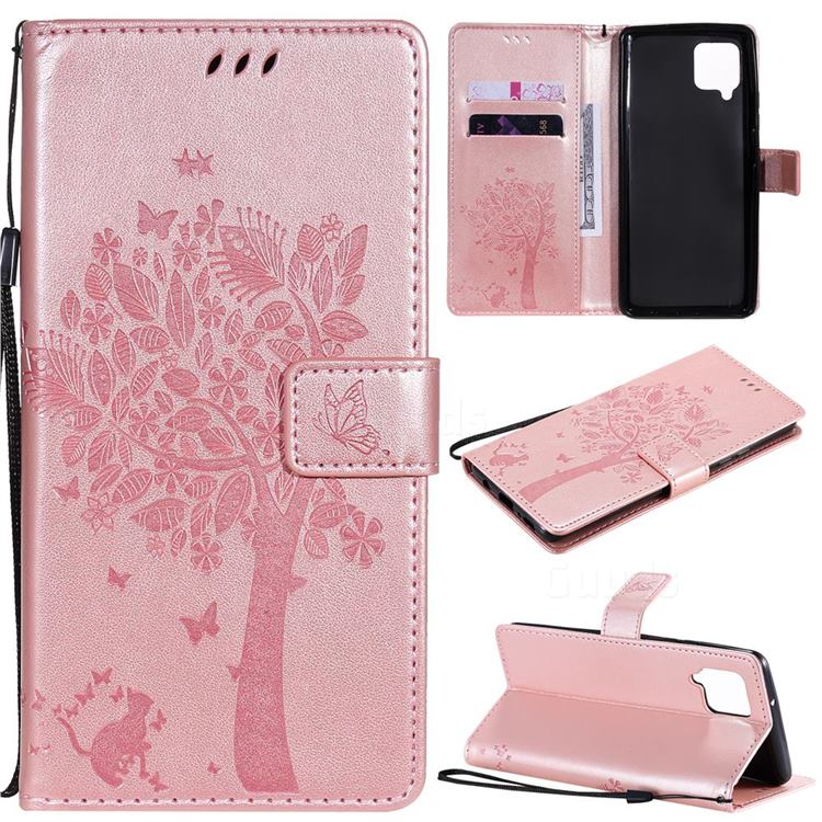 Embossing Butterfly Tree Leather Wallet Case for Samsung Galaxy A42 5G - Rose Pink