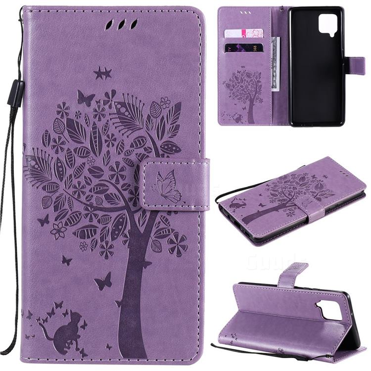 Embossing Butterfly Tree Leather Wallet Case for Samsung Galaxy A42 5G - Violet