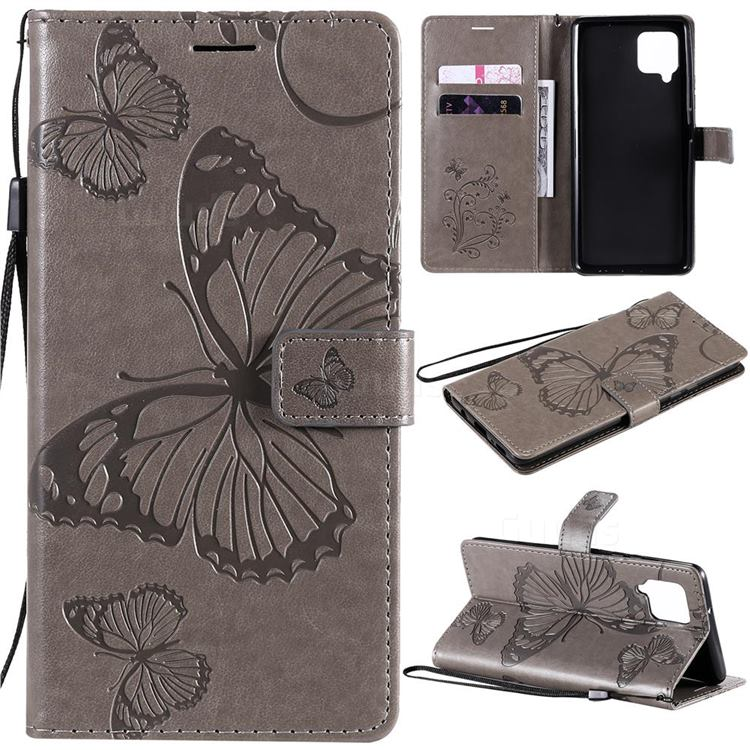 Embossing 3D Butterfly Leather Wallet Case for Samsung Galaxy A42 5G - Gray