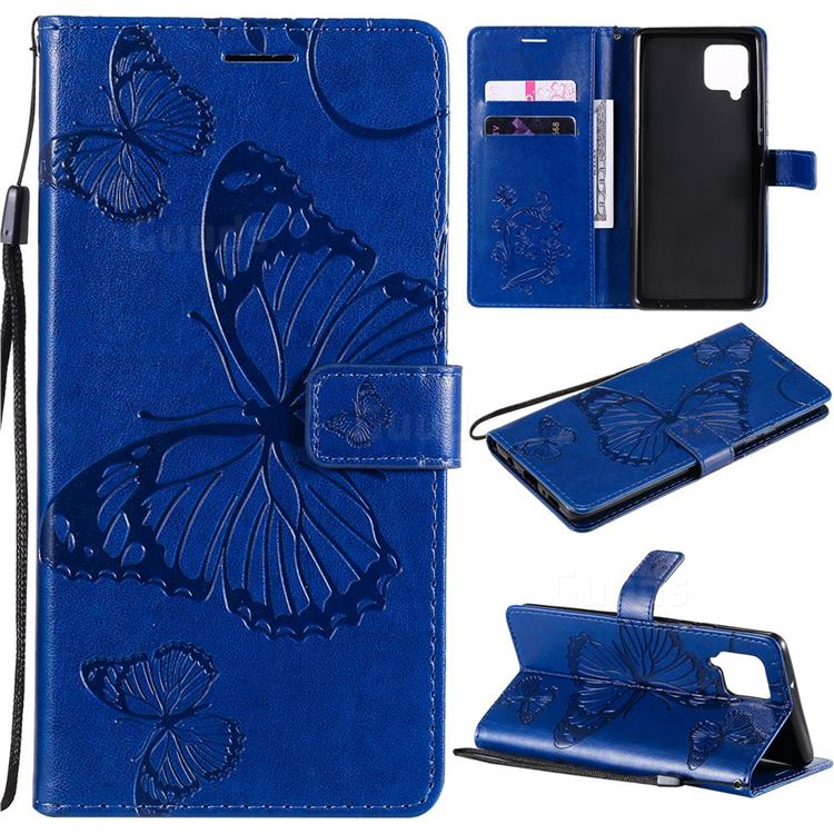 Embossing 3D Butterfly Leather Wallet Case for Samsung Galaxy A42 5G - Blue