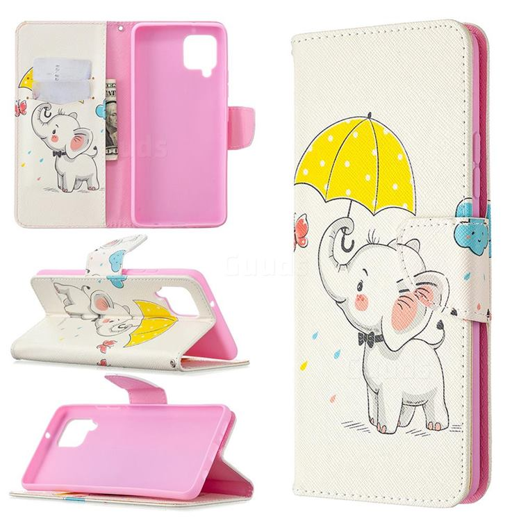 Umbrella Elephant Leather Wallet Case for Samsung Galaxy A42 5G