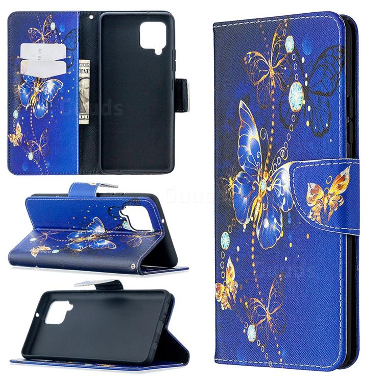 Purple Butterfly Leather Wallet Case for Samsung Galaxy A42 5G