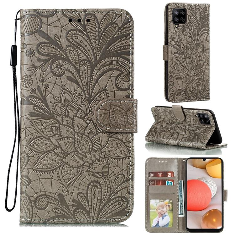 Intricate Embossing Lace Jasmine Flower Leather Wallet Case for Samsung Galaxy A42 5G - Gray