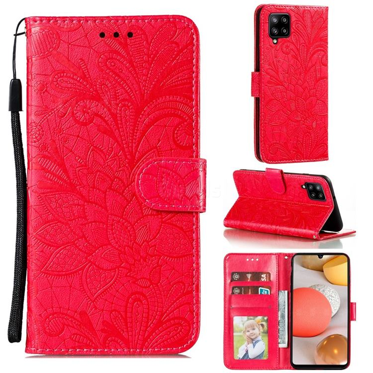 Intricate Embossing Lace Jasmine Flower Leather Wallet Case for Samsung Galaxy A42 5G - Red