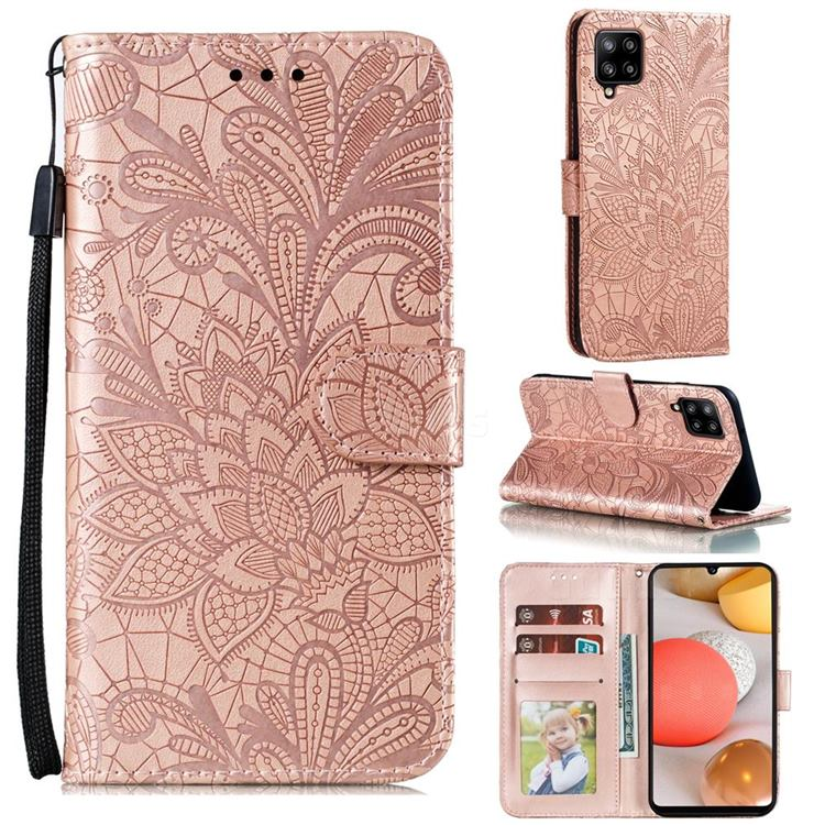 Intricate Embossing Lace Jasmine Flower Leather Wallet Case for Samsung Galaxy A42 5G - Rose Gold