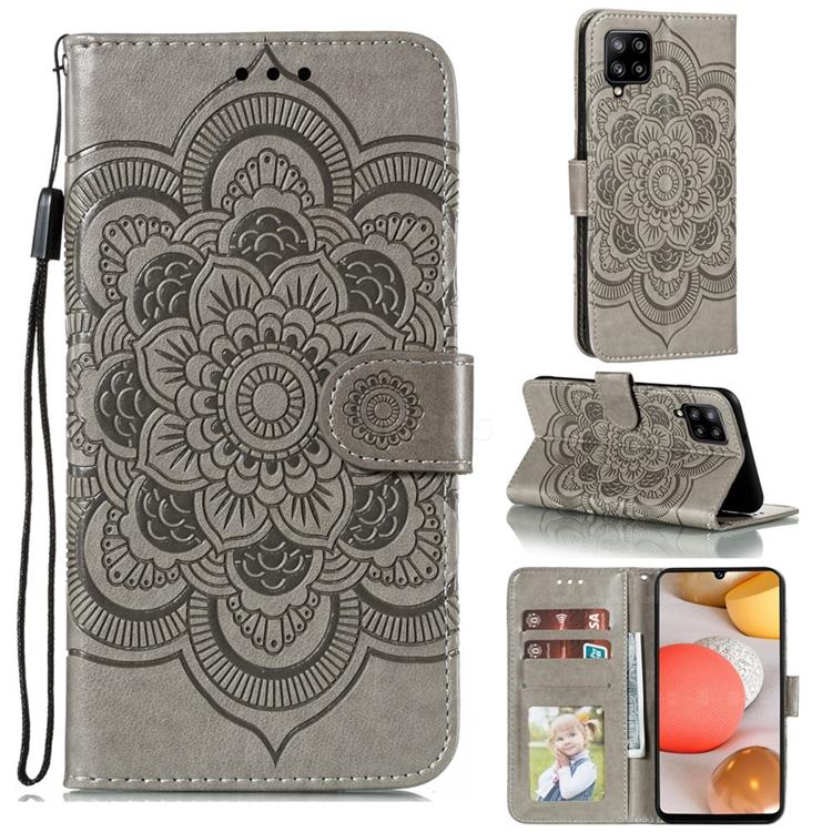 Intricate Embossing Datura Solar Leather Wallet Case for Samsung Galaxy A42 5G - Gray