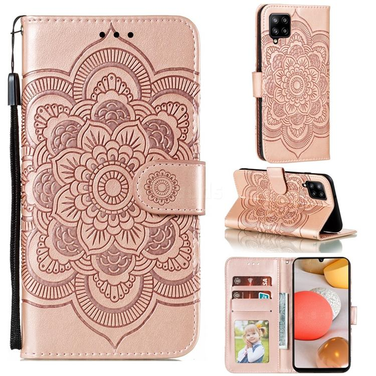 Intricate Embossing Datura Solar Leather Wallet Case for Samsung Galaxy A42 5G - Rose Gold