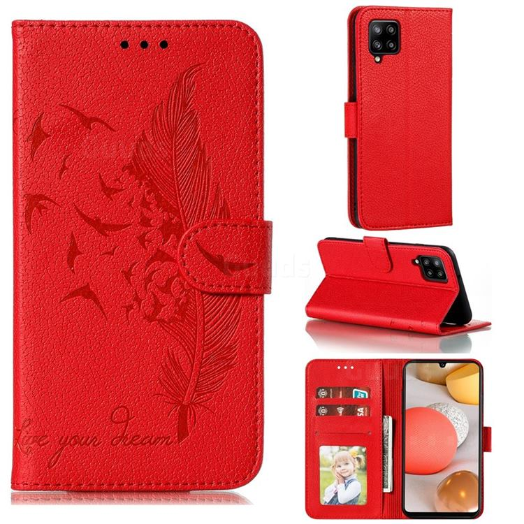 Intricate Embossing Lychee Feather Bird Leather Wallet Case for Samsung Galaxy A42 5G - Red