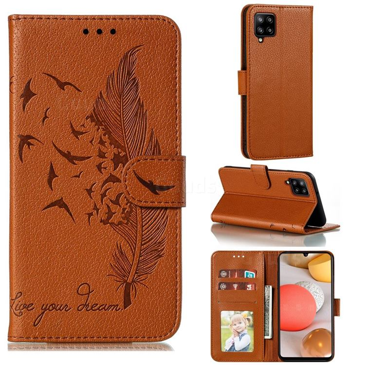 Intricate Embossing Lychee Feather Bird Leather Wallet Case for Samsung Galaxy A42 5G - Brown