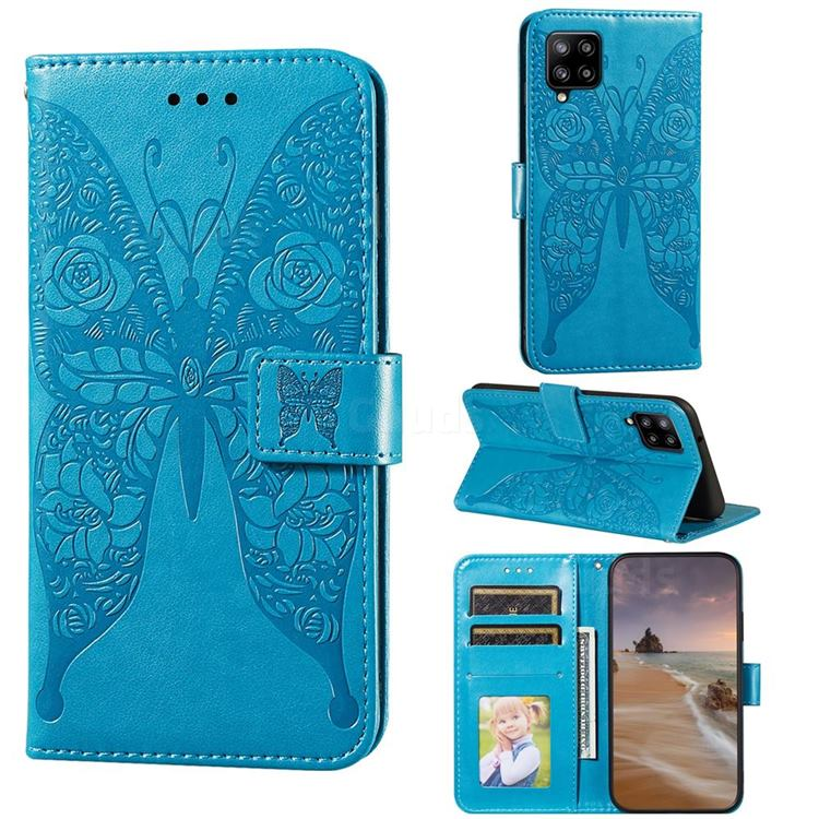 Intricate Embossing Rose Flower Butterfly Leather Wallet Case for Samsung Galaxy A42 5G - Blue