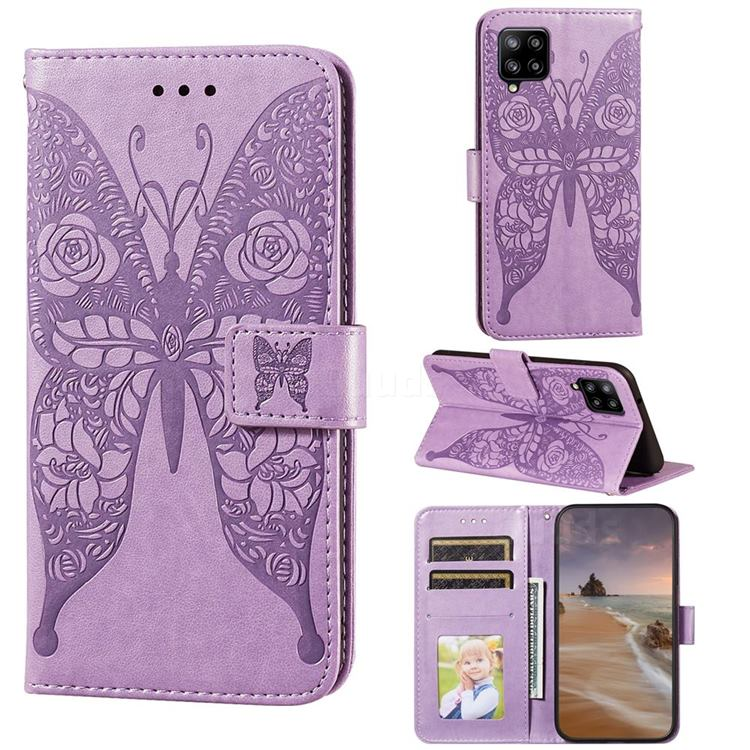 Intricate Embossing Rose Flower Butterfly Leather Wallet Case for Samsung Galaxy A42 5G - Purple
