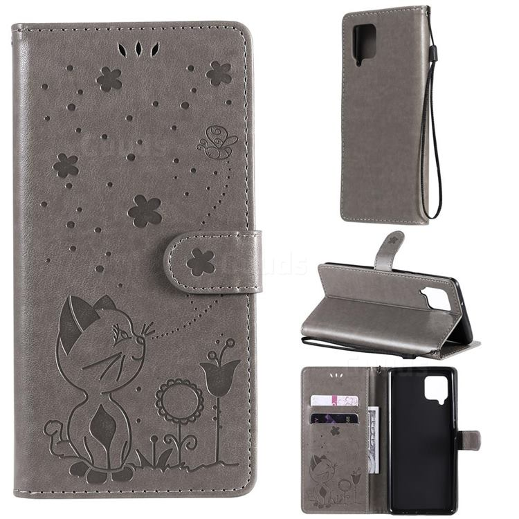 Embossing Bee and Cat Leather Wallet Case for Samsung Galaxy A42 5G - Gray