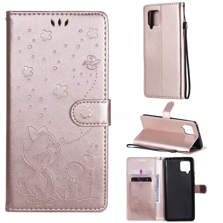 Embossing Bee and Cat Leather Wallet Case for Samsung Galaxy A42 5G - Rose Gold
