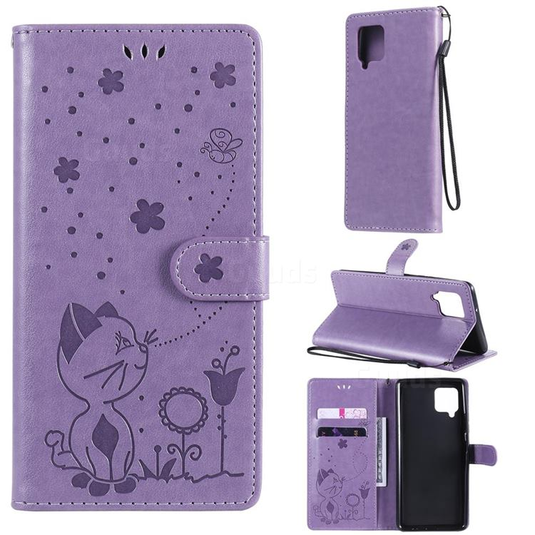 Embossing Bee and Cat Leather Wallet Case for Samsung Galaxy A42 5G - Purple