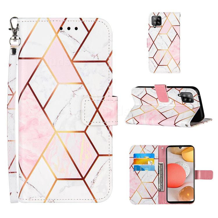 Pink White Stitching Color Marble Leather Wallet Case for Samsung Galaxy A42 5G