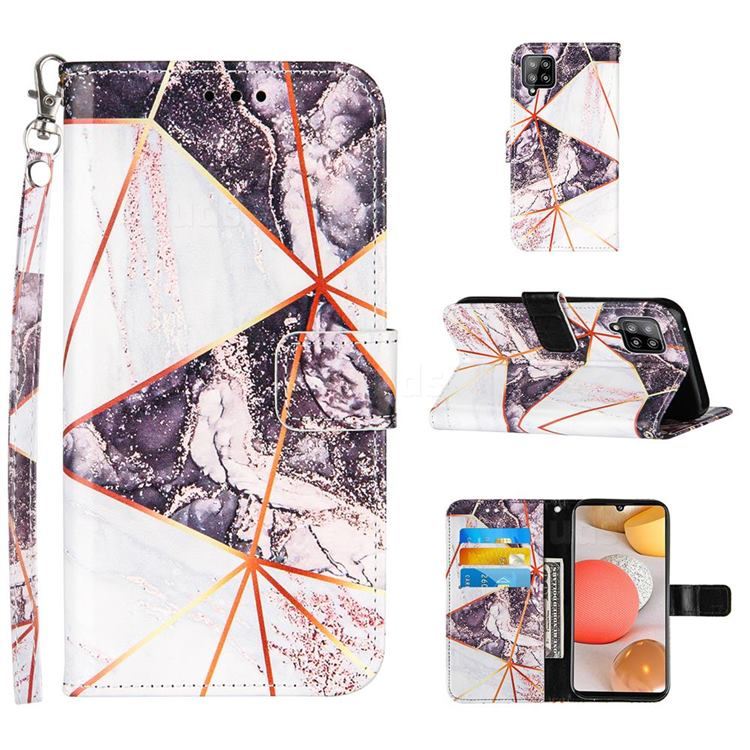Black and White Stitching Color Marble Leather Wallet Case for Samsung Galaxy A42 5G