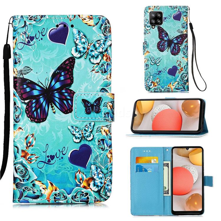 Love Butterfly Matte Leather Wallet Phone Case for Samsung Galaxy A42 5G