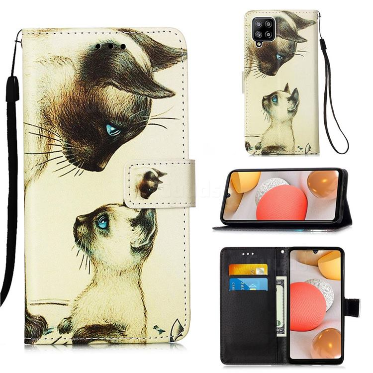 Cat Confrontation Matte Leather Wallet Phone Case for Samsung Galaxy A42 5G