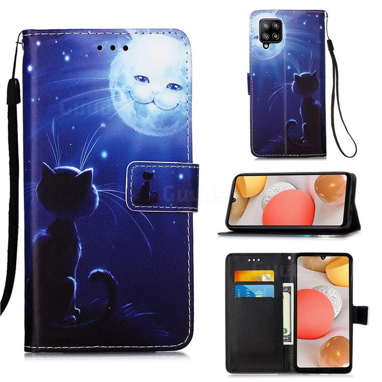 Cat and Moon Matte Leather Wallet Phone Case for Samsung Galaxy A42 5G