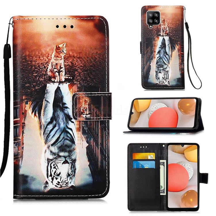 Cat and Tiger Matte Leather Wallet Phone Case for Samsung Galaxy A42 5G
