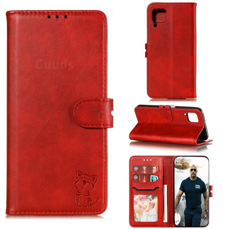 Embossing Happy Cat Leather Wallet Case for Samsung Galaxy A42 5G - Red
