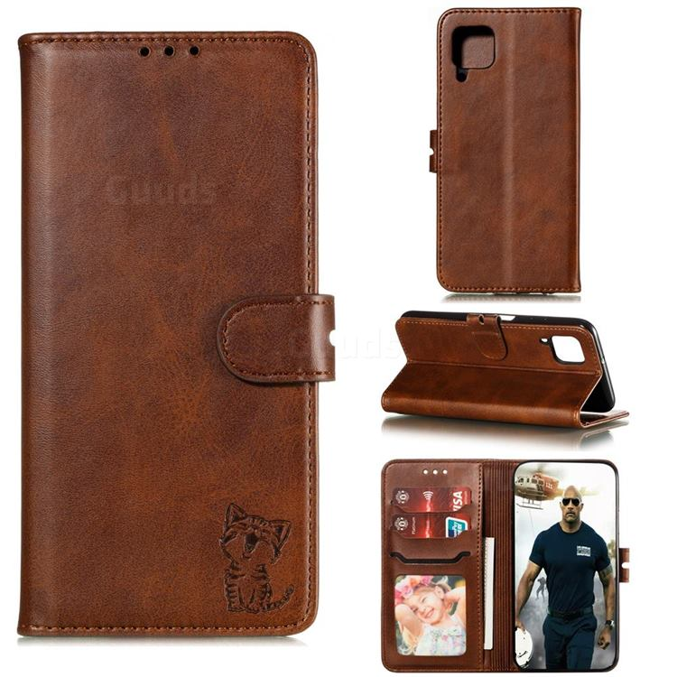 Embossing Happy Cat Leather Wallet Case for Samsung Galaxy A42 5G - Brown