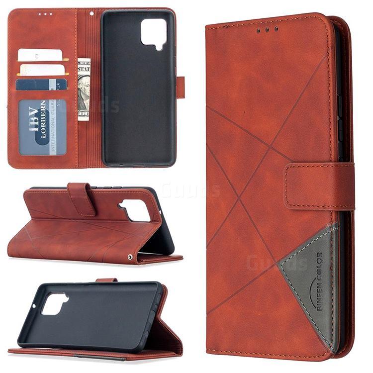 Binfen Color BF05 Prismatic Slim Wallet Flip Cover for Samsung Galaxy A42 5G - Brown
