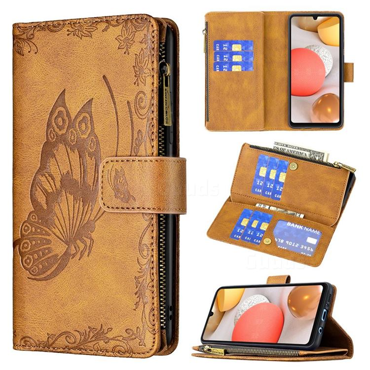 Binfen Color Imprint Vivid Butterfly Buckle Zipper Multi-function Leather Phone Wallet for Samsung Galaxy A42 5G - Brown