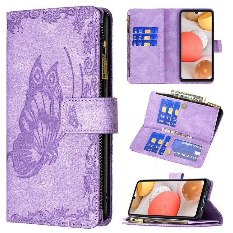 Binfen Color Imprint Vivid Butterfly Buckle Zipper Multi-function Leather Phone Wallet for Samsung Galaxy A42 5G - Purple