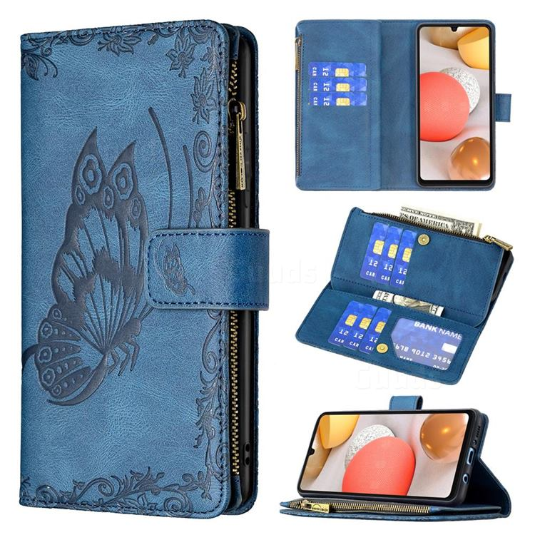 Binfen Color Imprint Vivid Butterfly Buckle Zipper Multi-function Leather Phone Wallet for Samsung Galaxy A42 5G - Blue