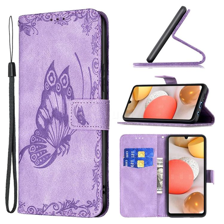Binfen Color Imprint Vivid Butterfly Leather Wallet Case for Samsung Galaxy A42 5G - Purple