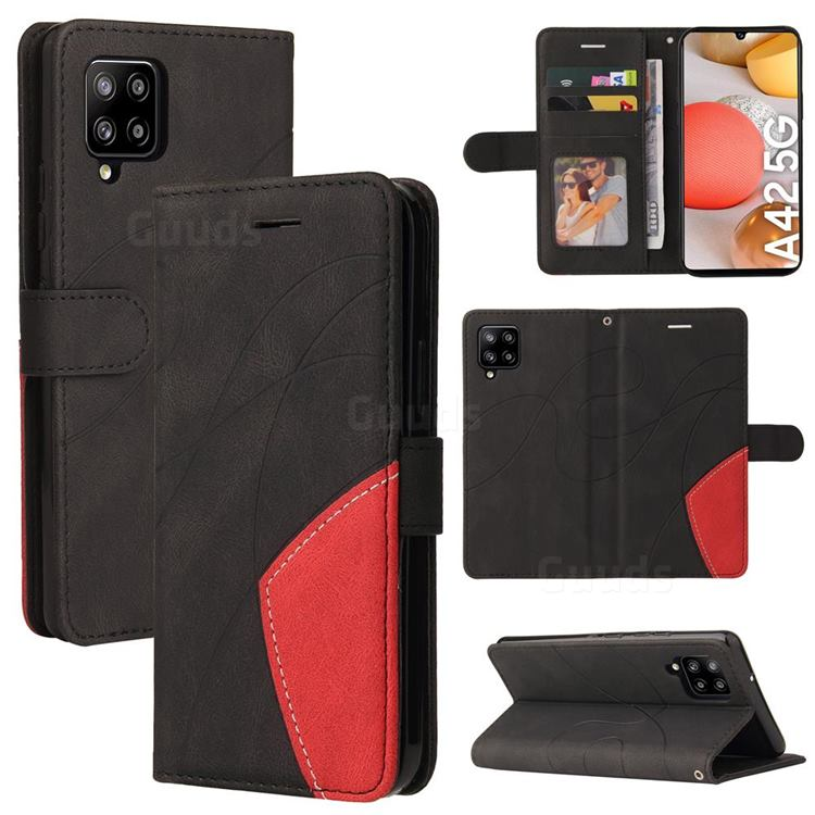 Luxury Two-color Stitching Leather Wallet Case Cover for Samsung Galaxy A42 5G - Black