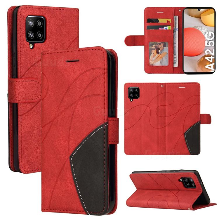 Luxury Two-color Stitching Leather Wallet Case Cover for Samsung Galaxy A42 5G - Red