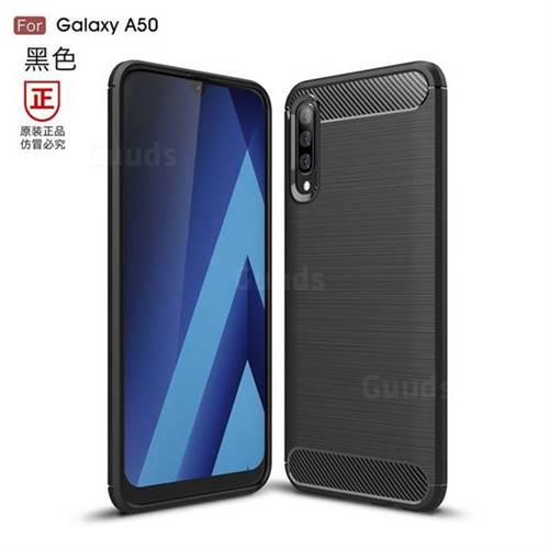 Luxury Carbon Fiber Brushed Wire Drawing Silicone TPU Back Cover for Samsung Galaxy A50 - Black
