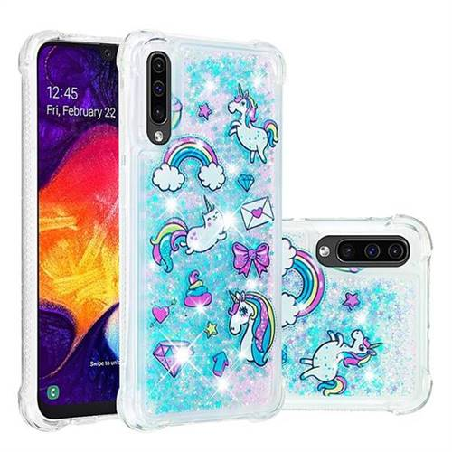 Fashion Unicorn Dynamic Liquid Glitter Sand Quicksand Star TPU Case for Samsung Galaxy A50