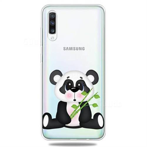 Bamboo Panda Clear Varnish Soft Phone Back Cover for Samsung Galaxy A50