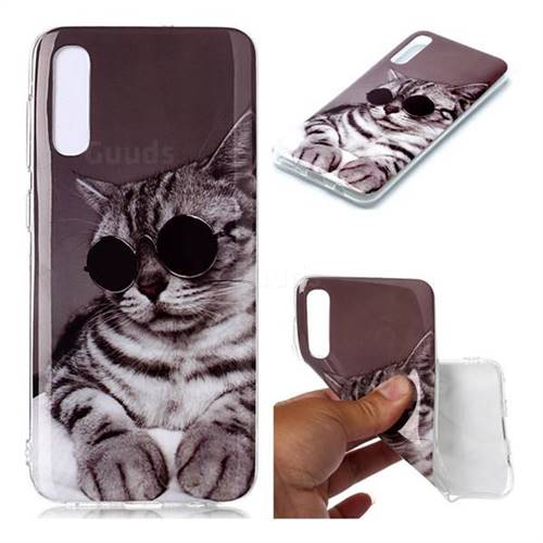 Kitten with Sunglasses Soft TPU Cell Phone Back Cover for Samsung Galaxy A50
