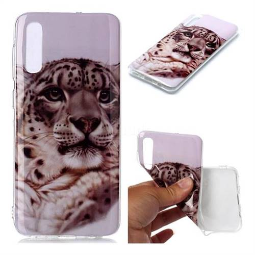 White Leopard Soft TPU Cell Phone Back Cover for Samsung Galaxy A50