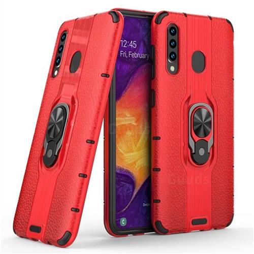 Alita Battle Angel Armor Metal Ring Grip Shockproof Dual Layer Rugged Hard Cover for Samsung Galaxy A50 - Red