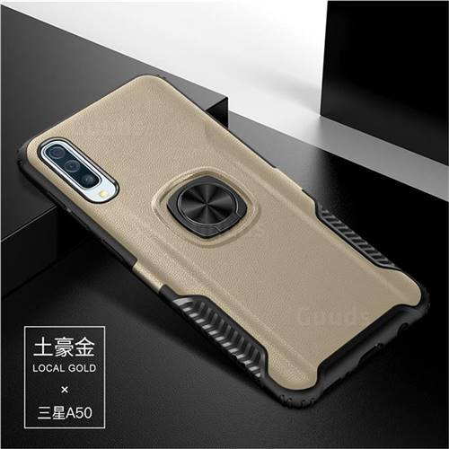 Knight Armor Anti Drop PC + Silicone Invisible Ring Holder Phone Cover for Samsung Galaxy A50 - Champagne