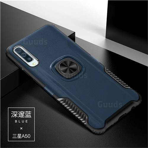 Knight Armor Anti Drop PC + Silicone Invisible Ring Holder Phone Cover for Samsung Galaxy A50 - Sapphire