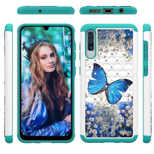 Flower Butterfly Studded Rhinestone Bling Diamond Shock Absorbing Hybrid Defender Rugged Phone Case Cover for Samsung Galaxy A50