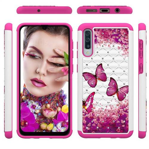 Rose Butterfly Studded Rhinestone Bling Diamond Shock Absorbing Hybrid Defender Rugged Phone Case Cover for Samsung Galaxy A50