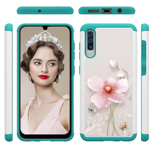 Pearl Flower Shock Absorbing Hybrid Defender Rugged Phone Case Cover for Samsung Galaxy A50