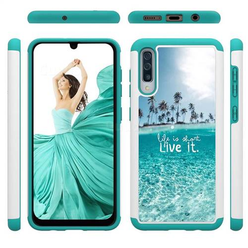 Sea and Tree Shock Absorbing Hybrid Defender Rugged Phone Case Cover for Samsung Galaxy A50
